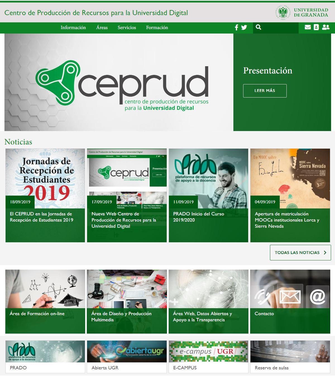 Captura de la página de inicio de la web del CEPRUD