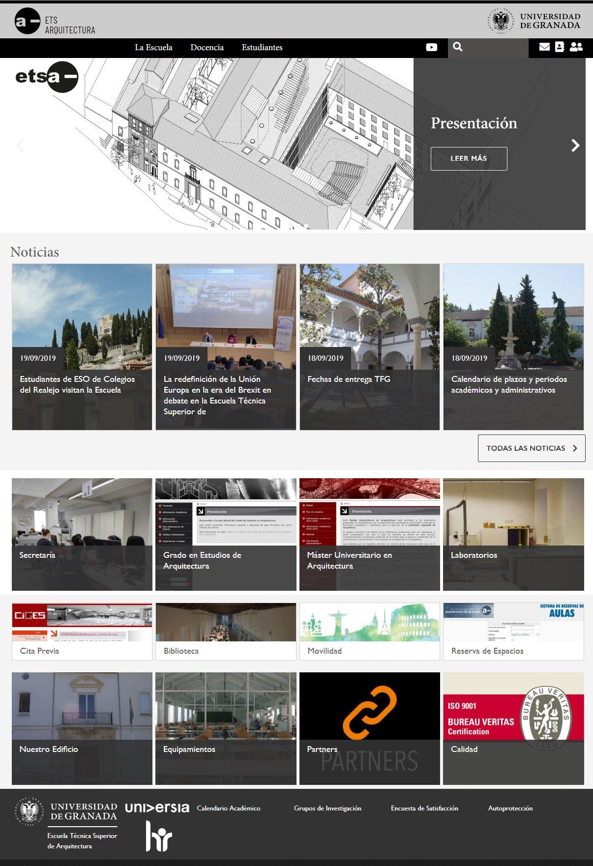 Captura de la página de inicio de la web de la E.T.S. de Arquitectura
