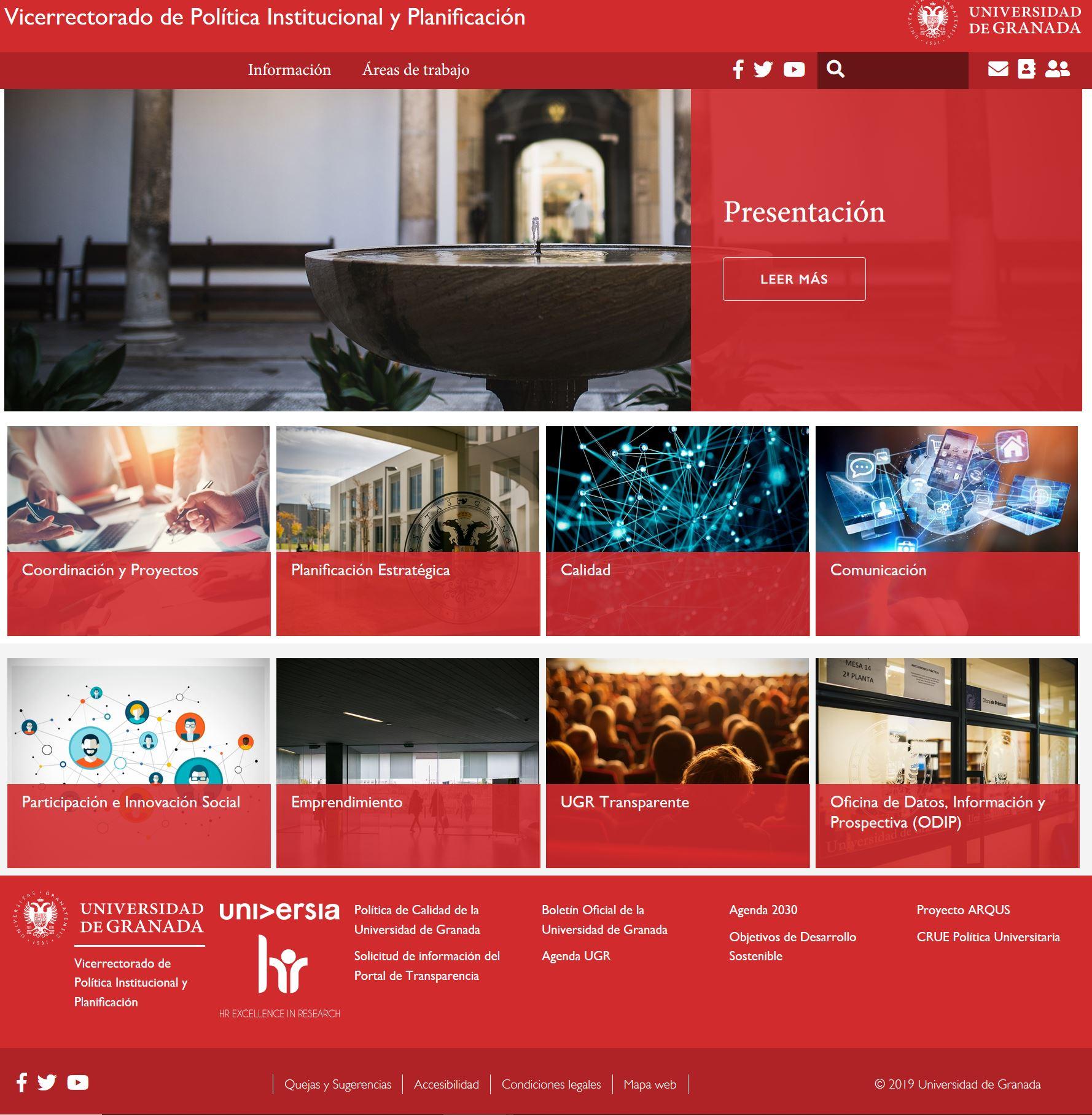 Captura de la página de inicio de la web del Vicerrectorado de Política Institucional y Planificación