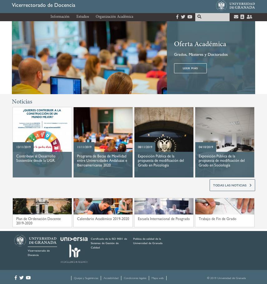 Captura de pantalla nueva web Vicerrectorado de Docencia