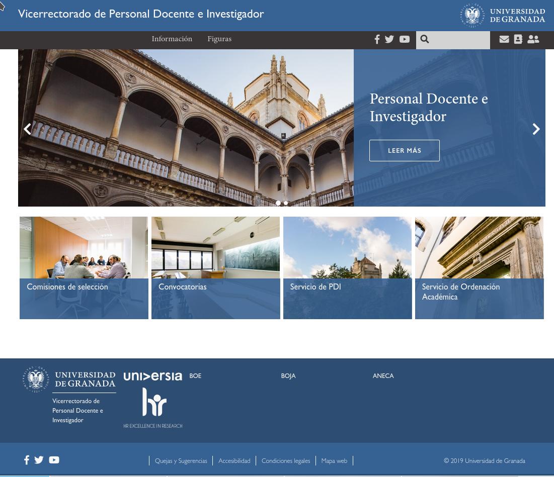 Captura de pantalla de la Web del Vicerrectorado