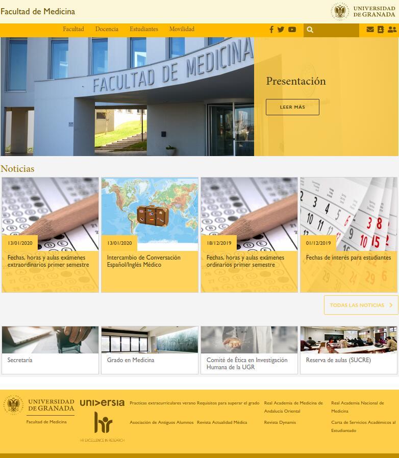 Página de inicio de la web medicina.ugr.es