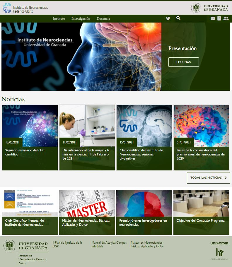 Captura de pantalla de la nueva web del Instituto de Neurociencias